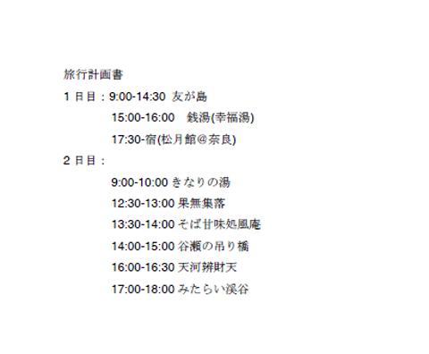 奈良・吉野地方を楽しむ旅行計画書